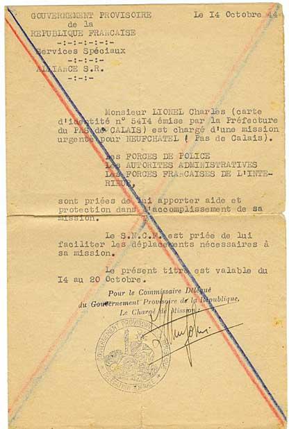 Ordre de mission du Service de Renseignement Alliance concernant Lionel Charles et Neufchatel
