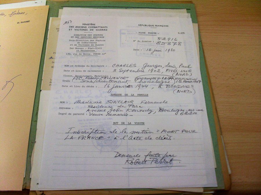 Document faisant mention de Robert Perrot et concernant Georges Charles˜