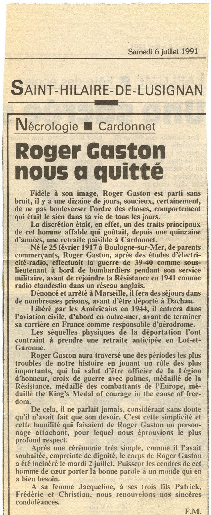 Nécrologie de Roger Gaston beau frère de Georges Charles