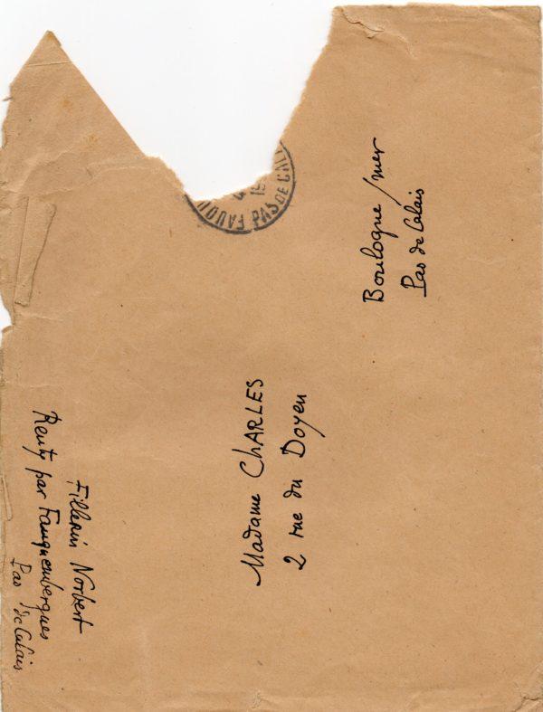 Enveloppe d'un courrier de Norbert Fillerin à Fernande Charles épouse de Georges Charles