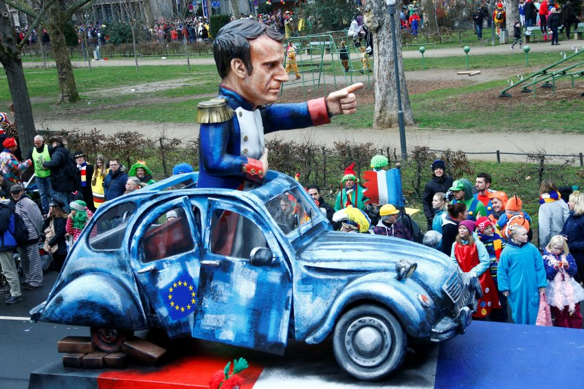 "A carnival float depicting French President Emmanuel Macron at the traditional ""Rosenmontag"" Rose Monday carnival parade in in Mainz, Germany, February 12, 2018.  REUTERS/Ralph Orlowski"