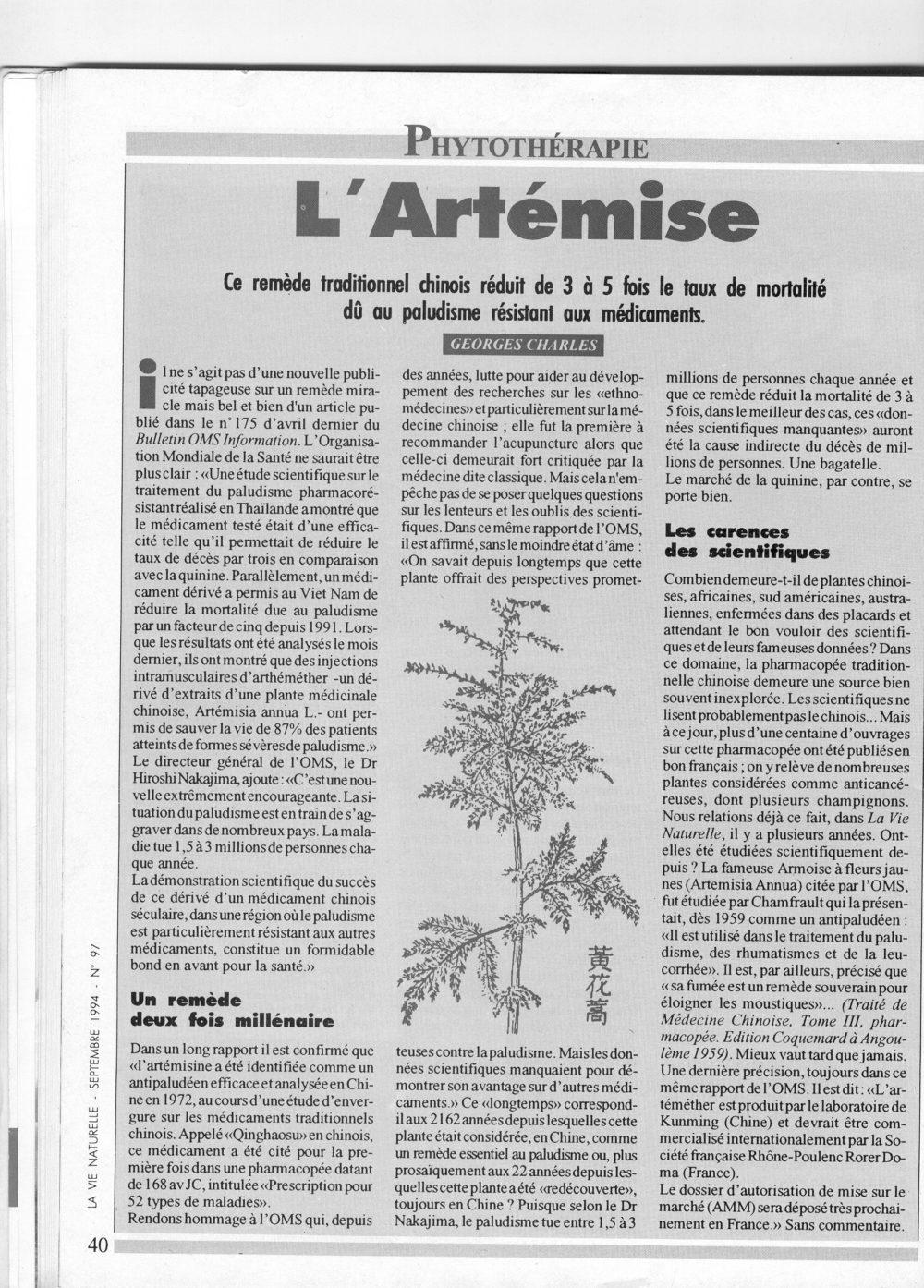 Georges Charles. Article sur l'artemisia annua. La vie naturelle. 1993