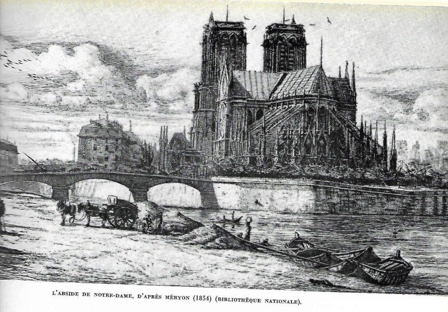 Notre--Dame de Paris sans sa flèche avant la restauration de Viollet-le-Duc en 1854