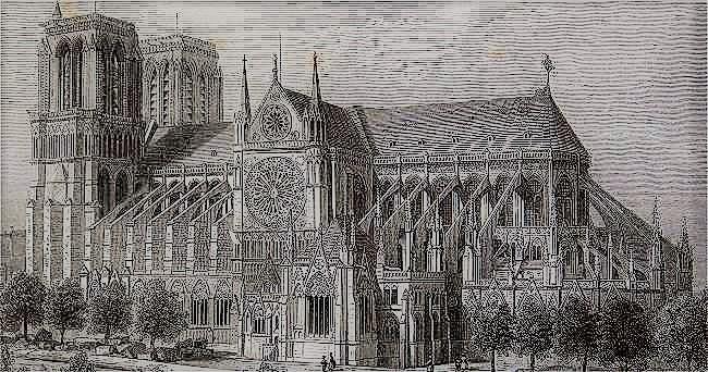 Notre(Dame de Paris sans la flèche de Viollet-le-Duc 1840