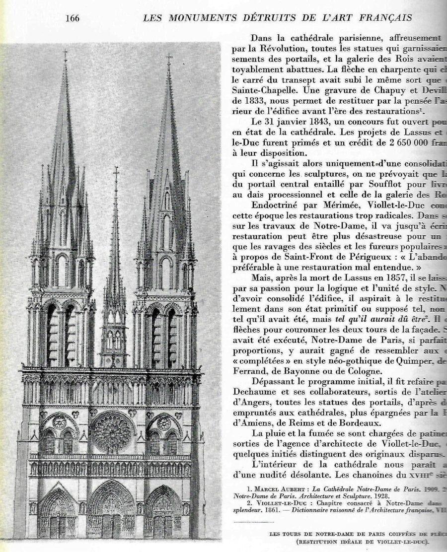 Projet de restauration de Notre-Dame de Paris par Viollet-le-Duc