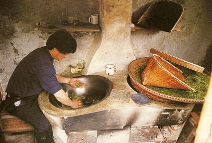 séchage du thé  Long Jin