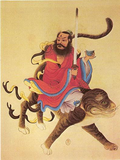 L'Immortel Zhang chevauchant le Tigre