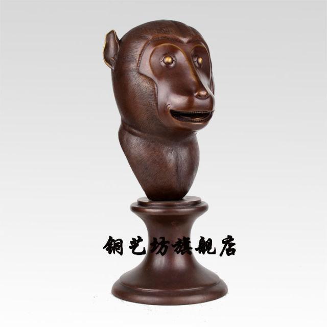 14-China-Bronze-célèbre-Feng-Shui-douze-zodiaque-singe-animaux-tête-Statue-Sculpture-ruban-été-style