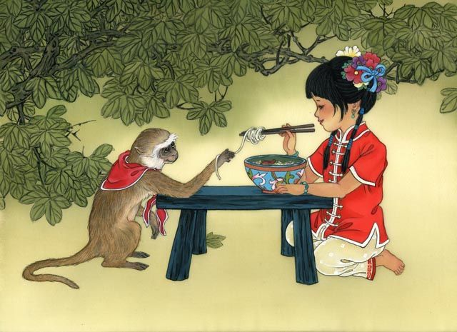 singe et petite fille