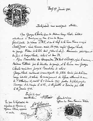 Attestation rédigée par Norbert Fillerin concernant Georges Charles et faisant mention de son arrestation ç Lille