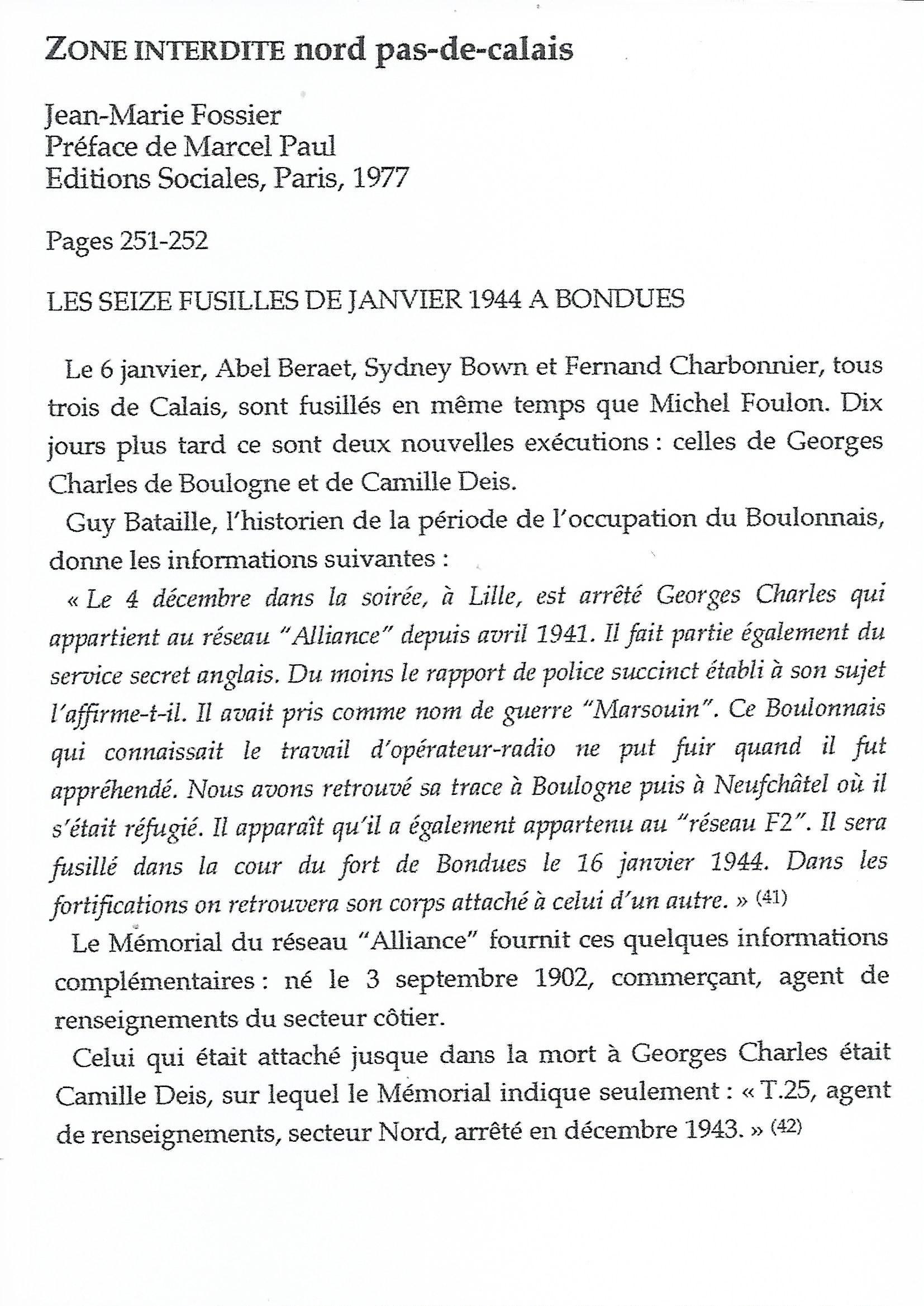 Georges Charles FFL livre Zone Interdite JM Fossier