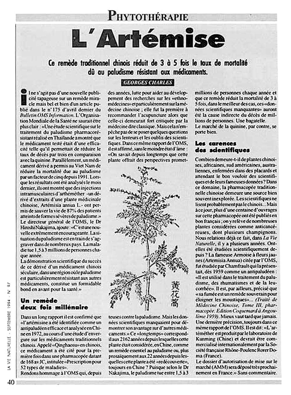Article de Georges Charles sur lArtemisia annua La vie Naturelle septembre 1994
